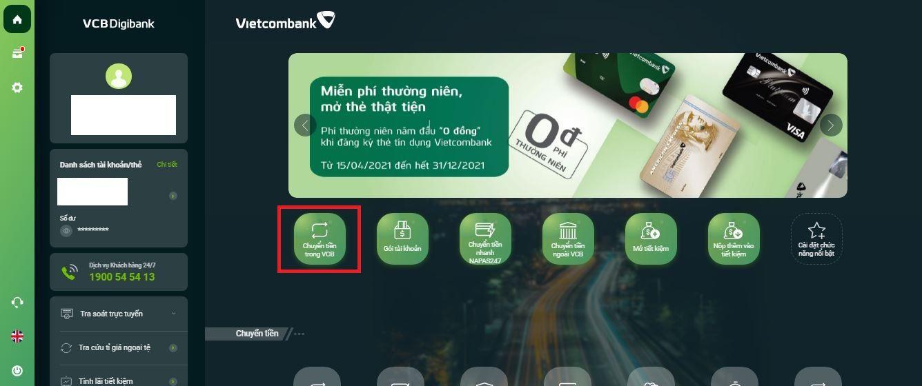 Chuyển tiền Vietcombank qua VCB Digibank 7