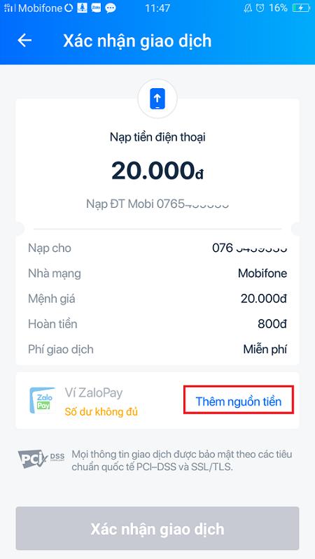 Nạp tiền qua ví điện tử liên kết với VietcomBank 4