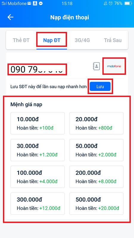 Nạp tiền qua ví điện tử liên kết với VietcomBank 3