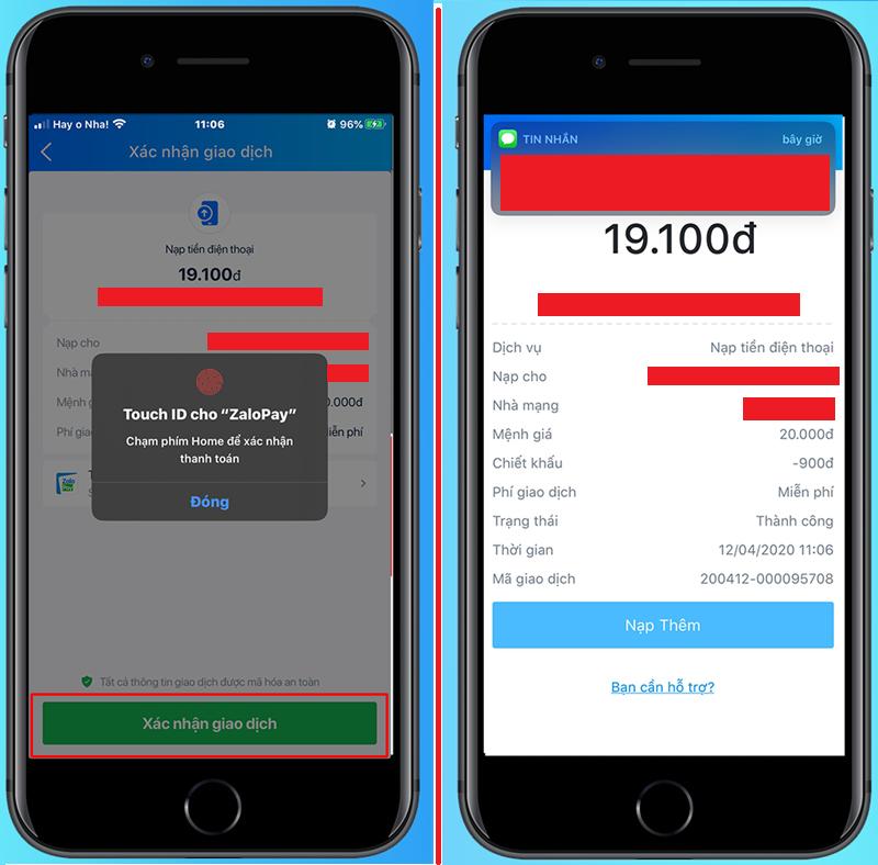 Nạp tiền Viettel qua ví điện tử Zalo Pay 4