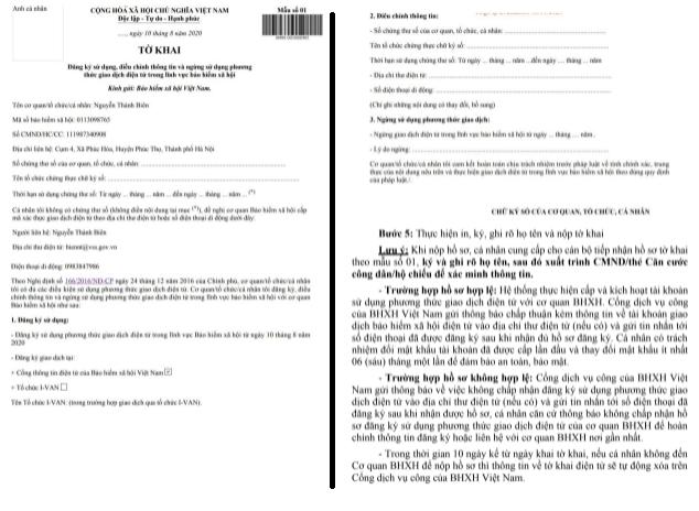 Mẫu tờ khai sau khi đăng ký tài khoản ứng dụng VssID tra cứu BHXH