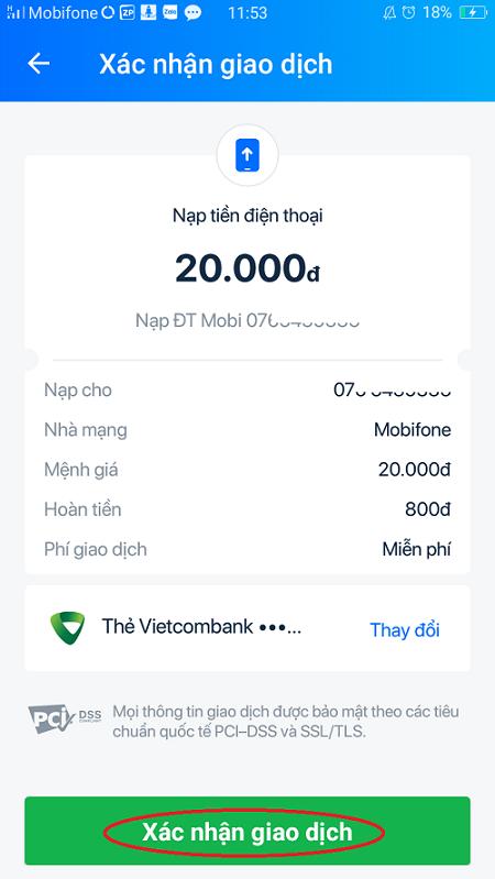 Nạp tiền qua ví điện tử liên kết với VietcomBank 7