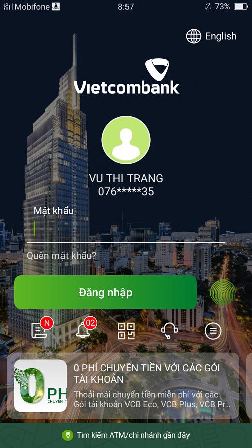 Chuyển tiền Vietcombank qua VCB Digibank 1