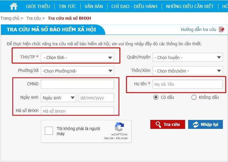 Tra cứu bảo hiểm xã hội trực tuyến trên website của Cơ quan BHXH