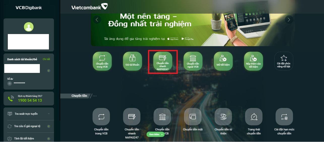 Chuyển tiền nhanh 24/7 từ Vietcombank sang ngân hàng khác 7
