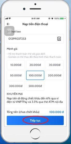 Nạp thẻ Vinaphone cho thuê bao khác qua App 3