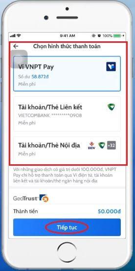 Nạp thẻ Vinaphone cho thuê bao khác qua App 4