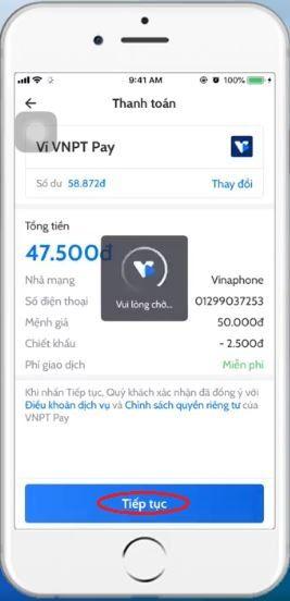 Nạp thẻ Vinaphone cho thuê bao khác qua App 5