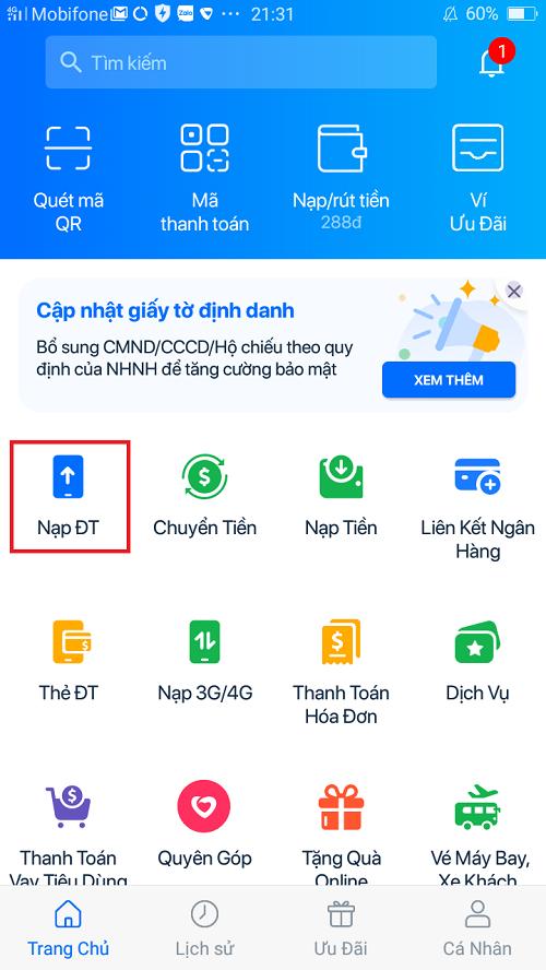 Cách nạp tiền điện thoại cho người khác qua Ví điện tử Zalo Pay 2