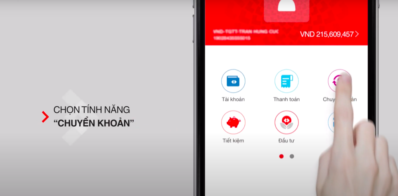 Cách chuyển khoản qua điện thoại bằng Mobile Banking TechcomBank 1