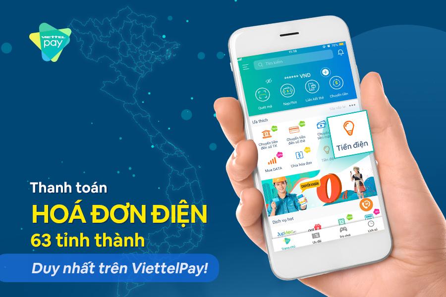 Thanh toán tiền điện qua Viettel Pay