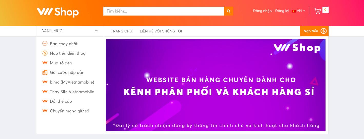 Cách nạp thẻ Vietnamobile qua website