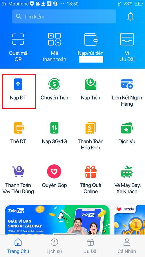 Mua thẻ Vietnamobile tại Zalo Pay 2