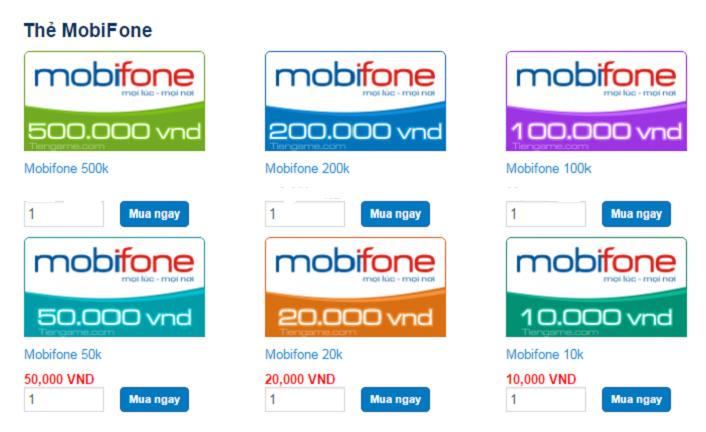 Nạp tiền điện thoại Mobifone thuê bao trả trước bằng thẻ cào