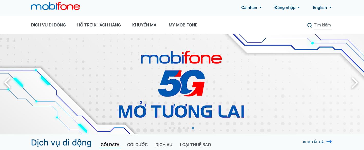 Nạp tiền điện thoại Mobifone thuê bao trả trước qua website Mobifone 1
