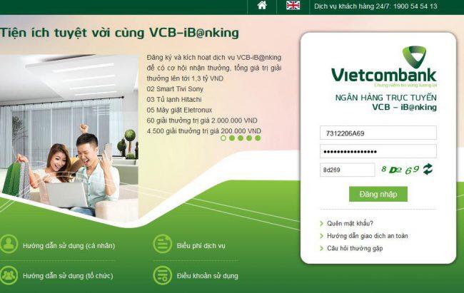 Cách chuyển tiền khác ngân hàng Vietcombank bằng Internet Banking 1