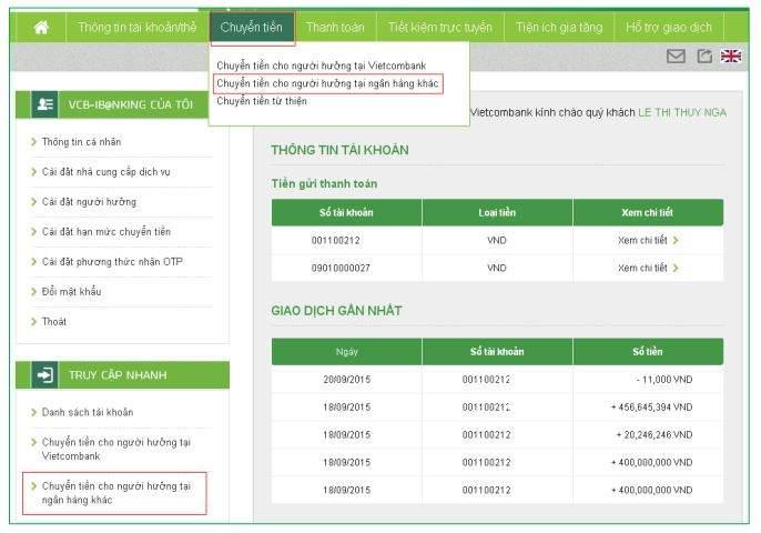 Cách chuyển tiền khác ngân hàng Vietcombank bằng Internet Banking 2