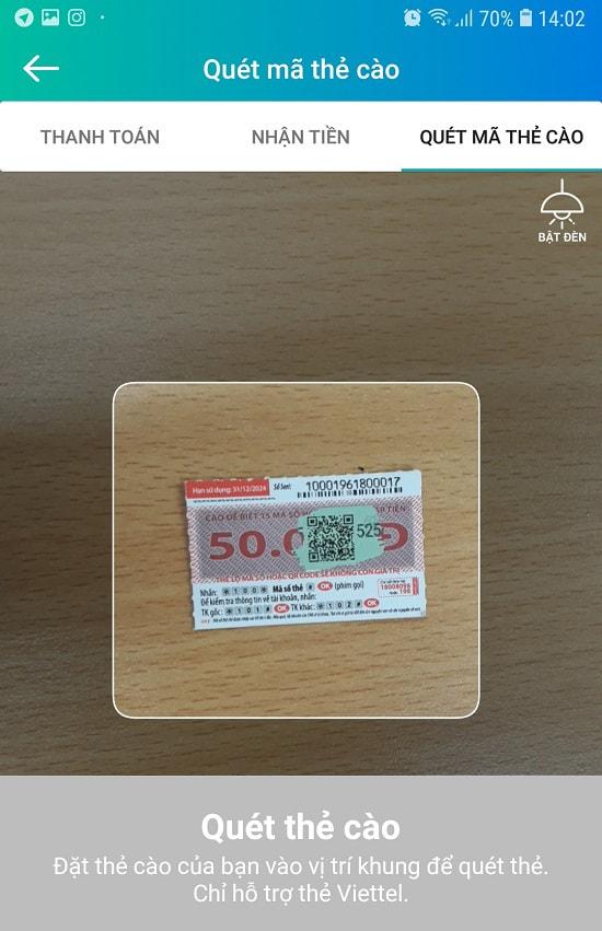 Cách nạp thẻ Viettel bằng mã QR qua ứng dụng ViettelPay 2