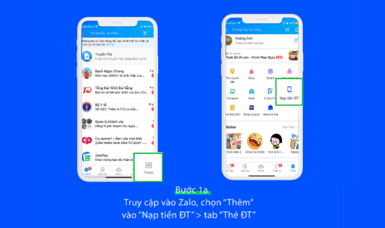 Mua thẻ cào Vinaphone trên ứng dụng Zalo bước 1a