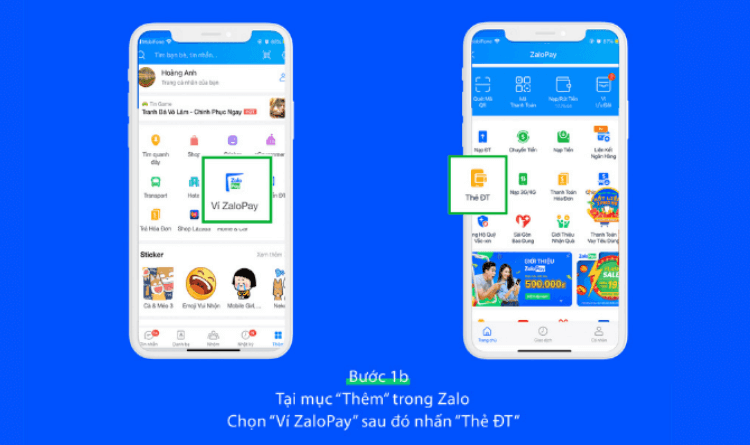 Mua thẻ cào Vinaphone trên ứng dụng Zalo bước 1b