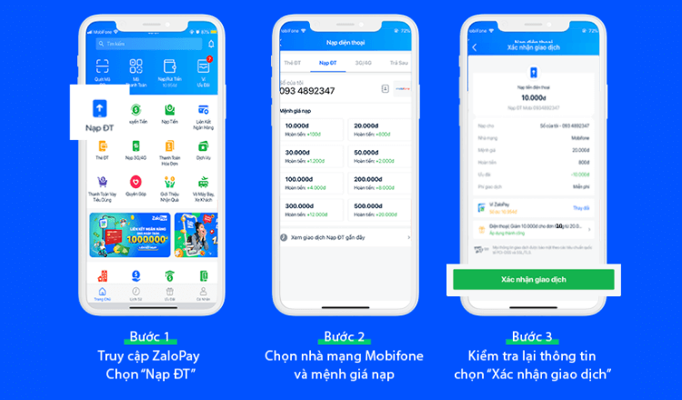 Cách nạp thẻ Vietnamobile điện thoại qua ZaloPay