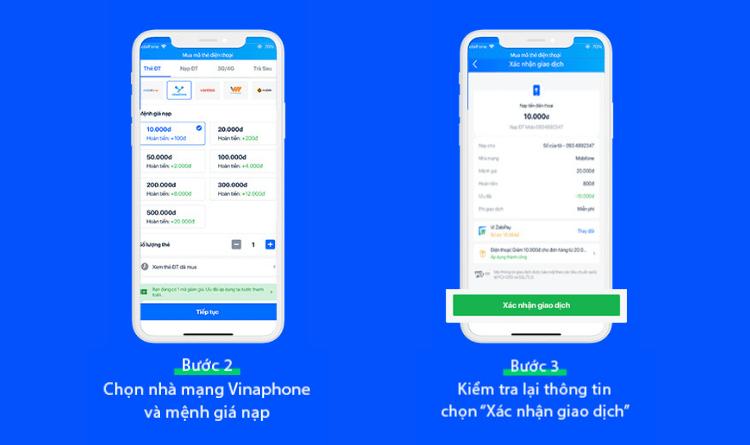 Mua thẻ cào Vinaphone trên ứng dụng Zalo bước 2,3