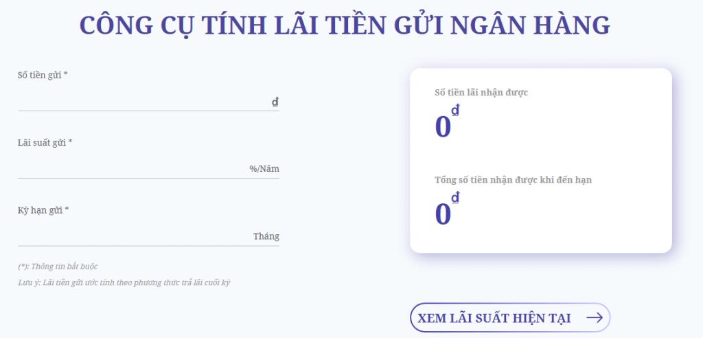 Công cụ tính lãi suất ngân hàng của Money24h