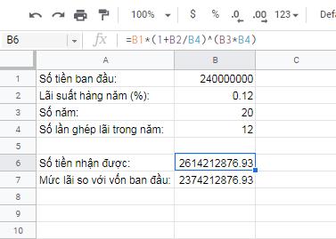 Cách tính lãi kép theo tháng với Excel hoặc Google Sheet