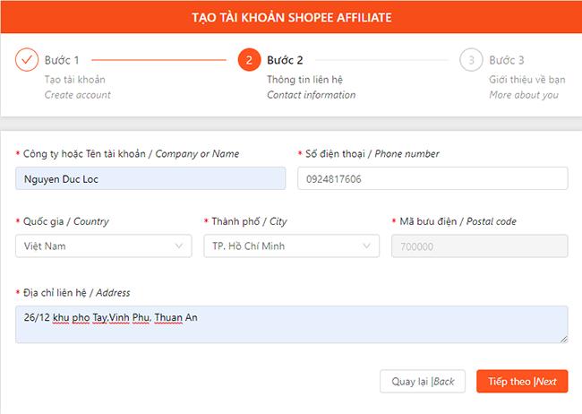 Điền thông tin cá nhân người tham gia tiếp thị liên kết Shopee - Shopee Affiliate