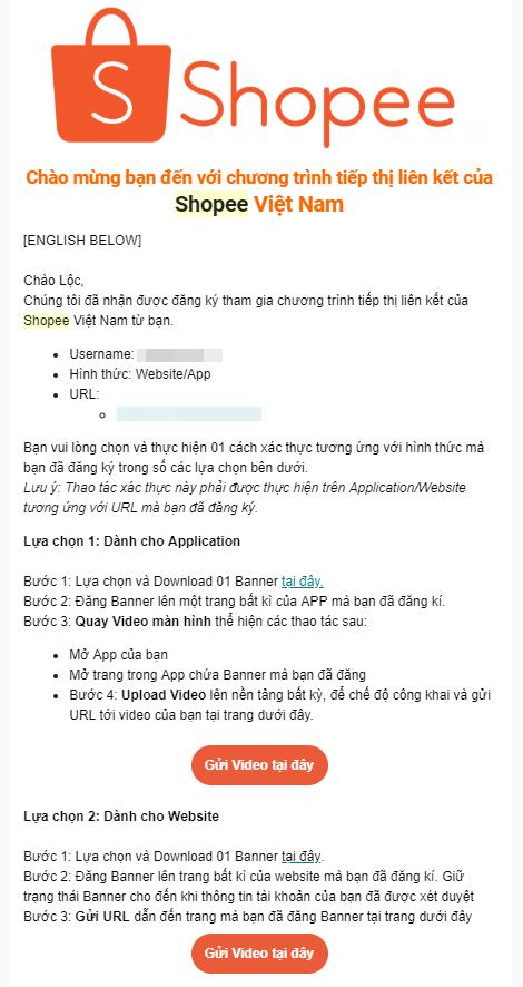 Xác thực email tham gia Shopee Affiliate