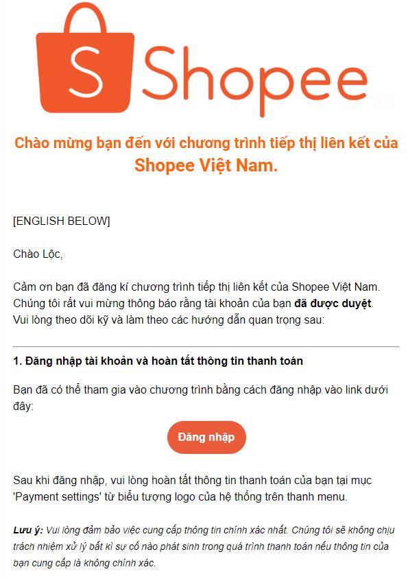 Chờ Shopee kiểm duyệt từ 1 - 2 ngày yêu cầu tham gia Shopee Affiliate